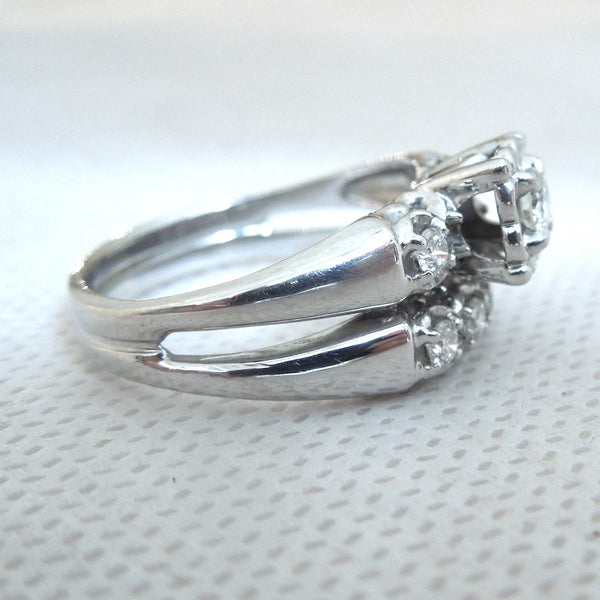 1940s 14K White Gold Illusion Mount Diamond Wedding Set