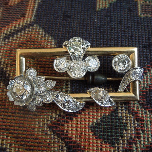 Platinum and Yellow Gold Old Cut Diamond Brooch - Floral Motif