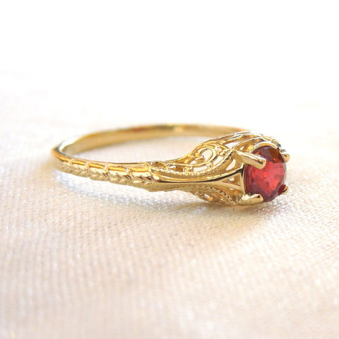 Ultrafine Half Carat Ruby in Petite Engraved Mounting - 18K Yellow Gold