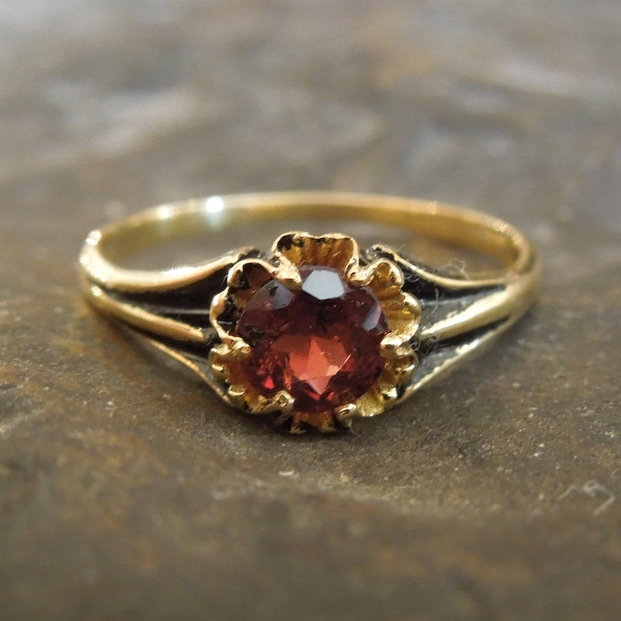 Victorian Style Red Garnet Ring - Vermeil (Gold & Sterling Silver)