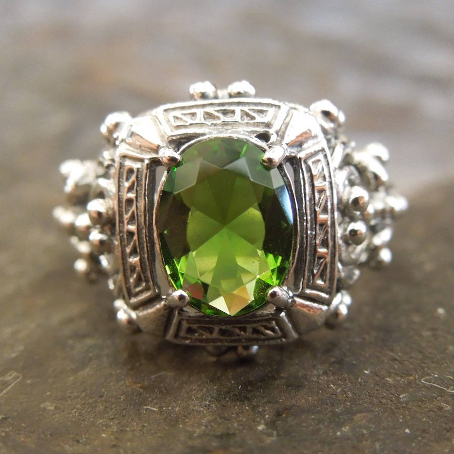 Victorian Style Oval Peridot Ring in Sterling Silver