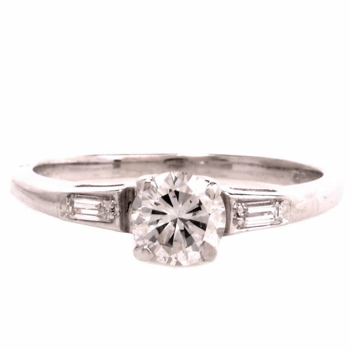 Half Carat Diamond Engagement Ring in 14K White Gold with Custom Wedding Band