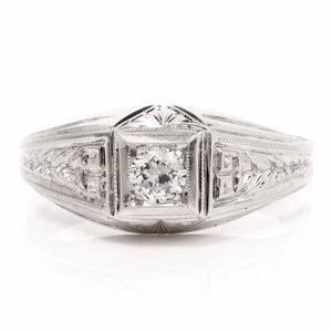 18K White Gold Art Deco Engagement Ring - 0.15ct Old European Cut Diamond