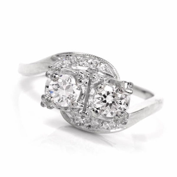 0.50cttw Vintage Diamond Bypass Ring - 14K White Gold