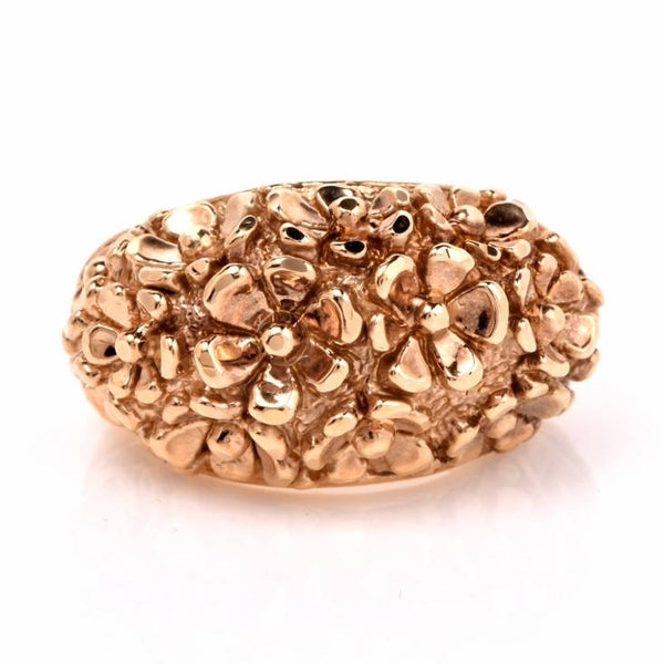14K Italian Yellow Gold Dome Ring - Flower Motif