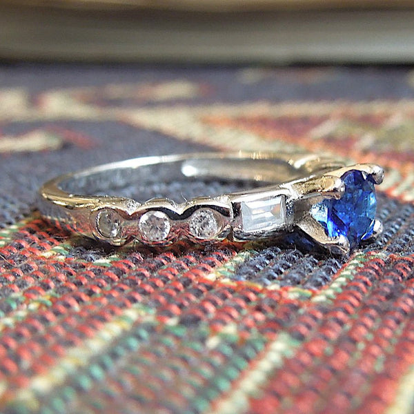 1 ct Round Sapphire Ring with White Topaz in Sterling Silver