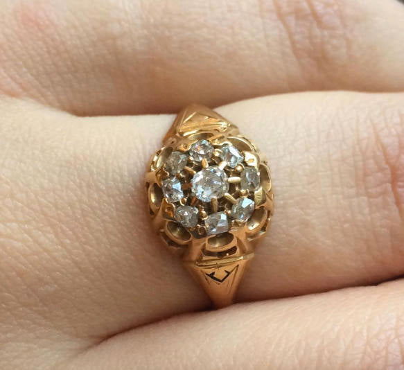 Classic Victorian Yellow Gold Diamond Cluster Ring