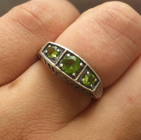 Natural  Peridot - Three Stone Ring - Art Deco Style - Sterling Silver