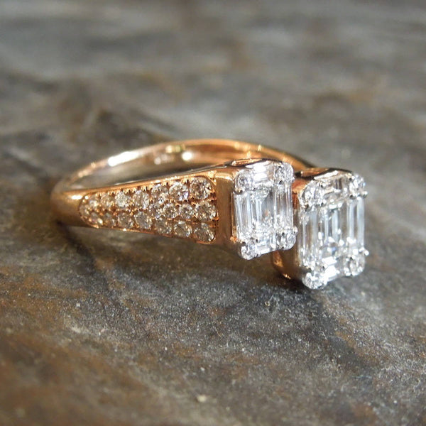 18K Rose Gold and Diamond Bypass Ring - Emerald Cut / Baguette Center