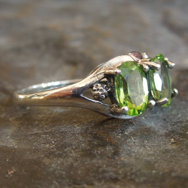 Three Stone Peridot and Sterling Silver Ring