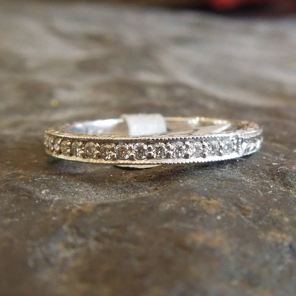 Art Deco Stye Engraved Diamond Wedding Band