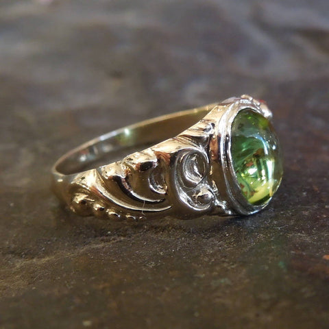 Oval Cabochon Peridot in Victorian Style Yellow Gold Ring