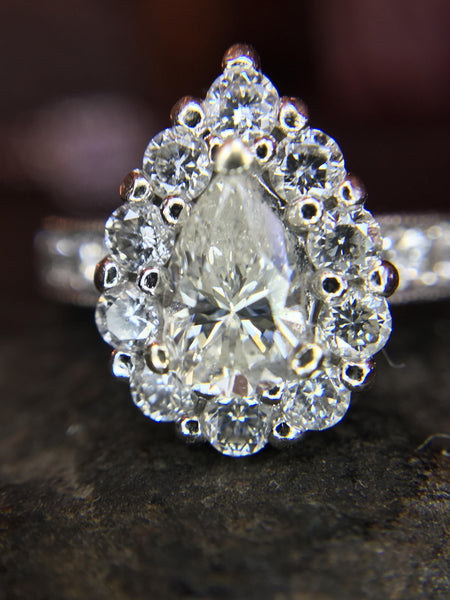 Pear Cut Diamond with Diamond Halo - 14K White Gold - Engagement Ring
