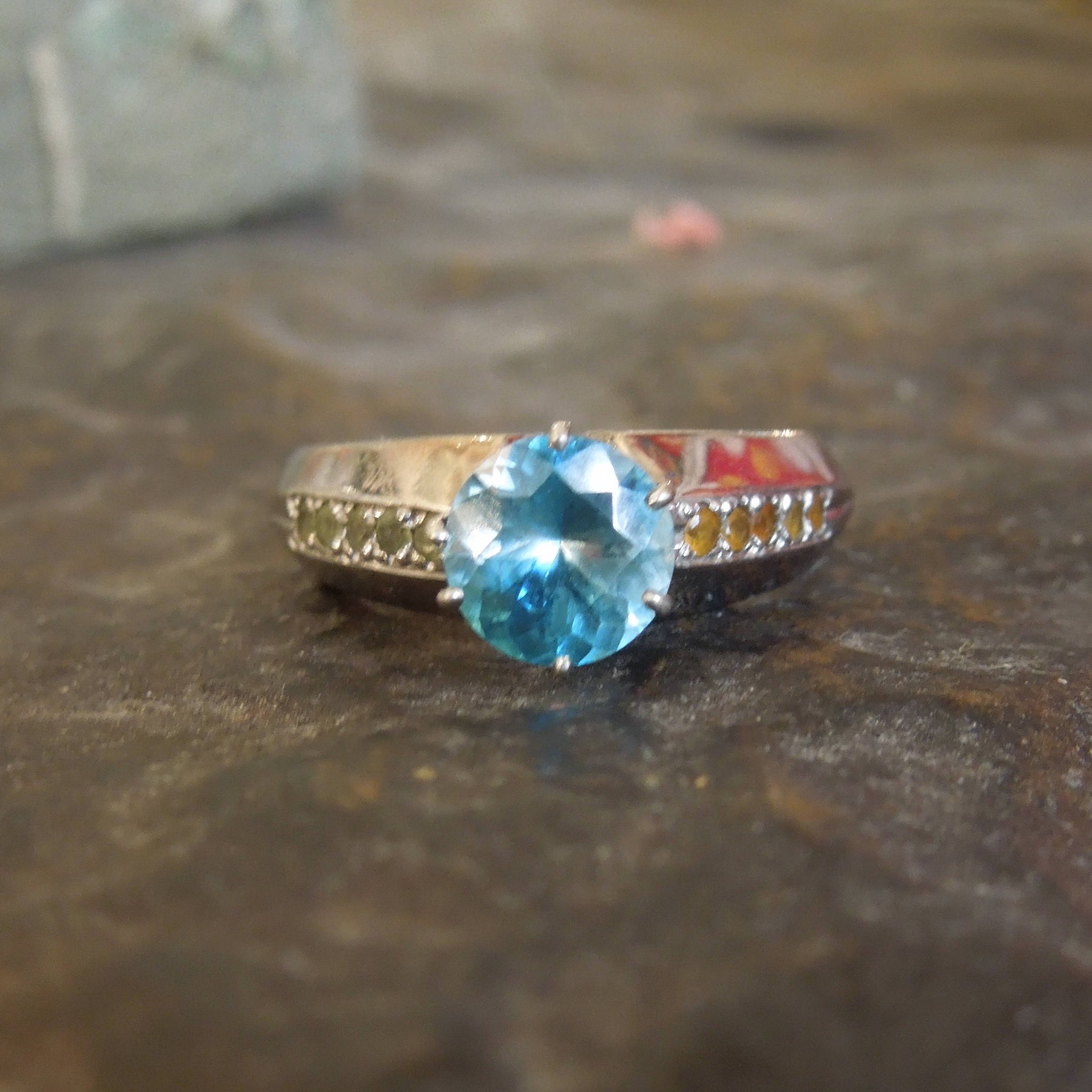 1.83 carat Blue Zircon and Multicolor Garnet in 14K White Gold Mounting