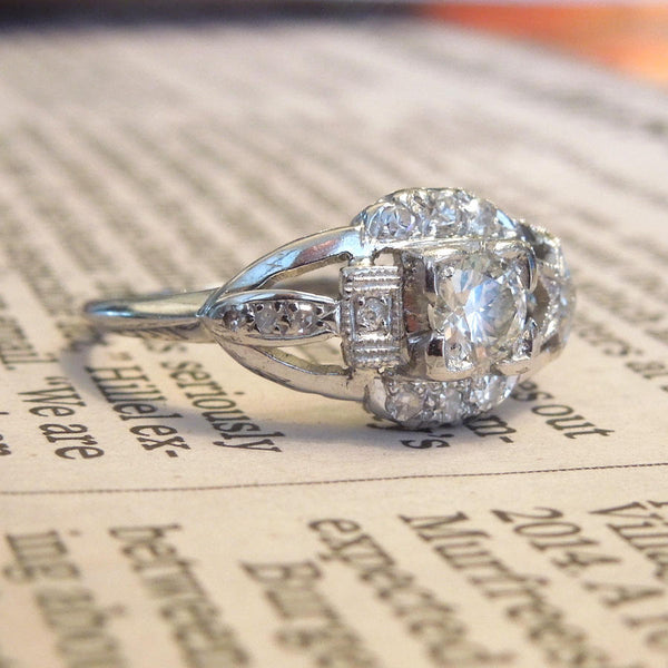 Art Deco Platinum and Diamond Halley's Comet Engagement Ring