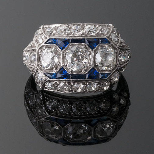 Wide Art Deco Diamond and Sapphire Three Stone Ring in Platinum