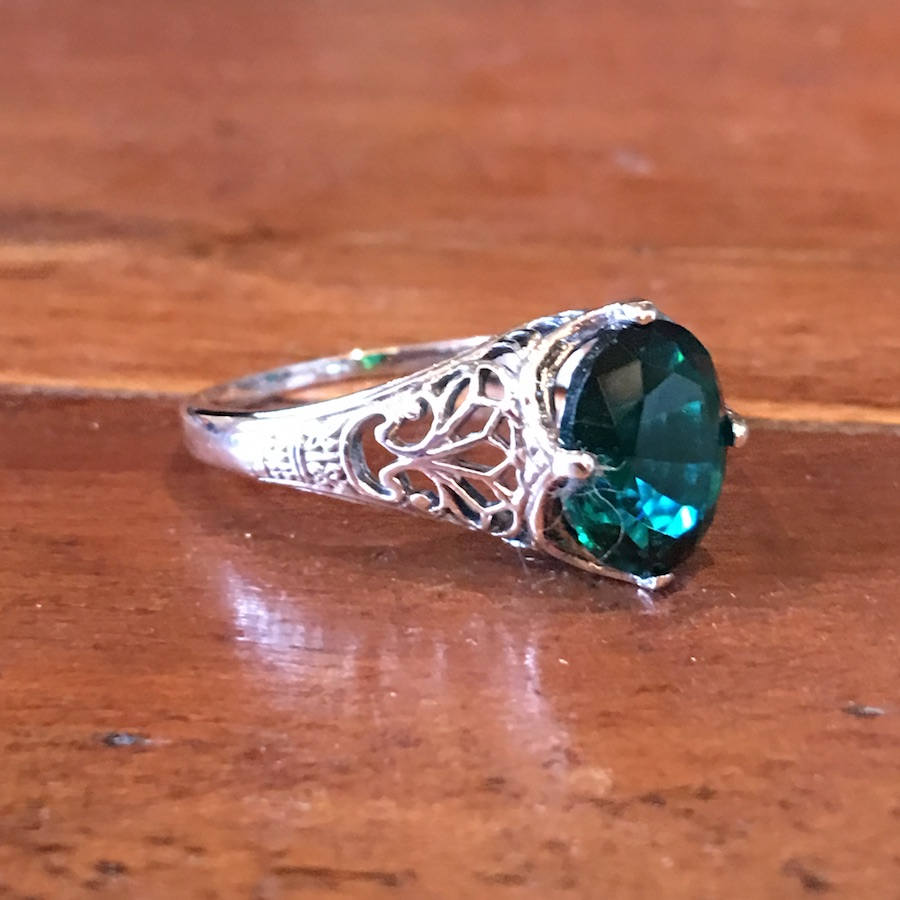 Oval Emerald Colored Quartz in Edwardian Style Sterling Silver Ring