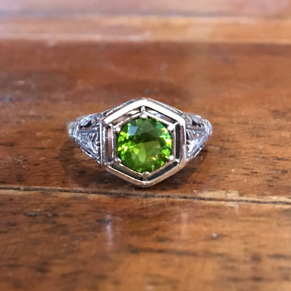 Art Deco Style Peridot Sterling Silver Filigree Mounting with Airline