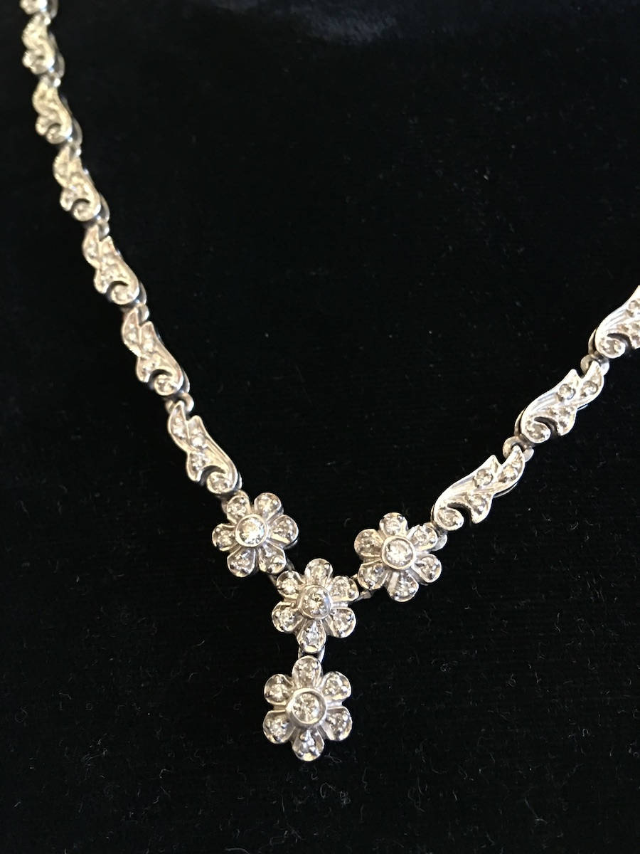 "17"" White Gold and Diamond Flower Motif Necklace"