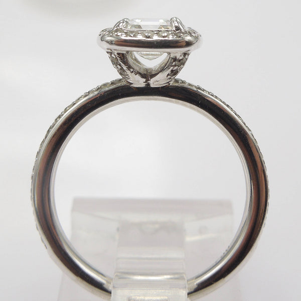 0.78ct Square Emerald Cut Diamond with Halo in 18K White Gold