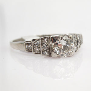 Art Deco Half Carat Diamond Engagement Ring with Platinum and Diamond Steps