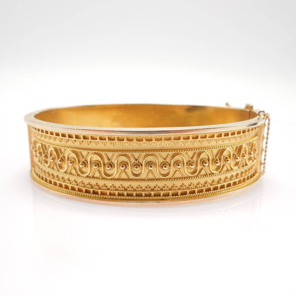 Yellow Gold Etruscan Revival Style Bracelet -- Granulated Gold