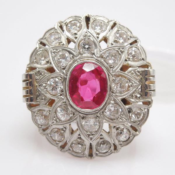 Large Art Deco Diamond and Ruby Ring in Platinum and Gold