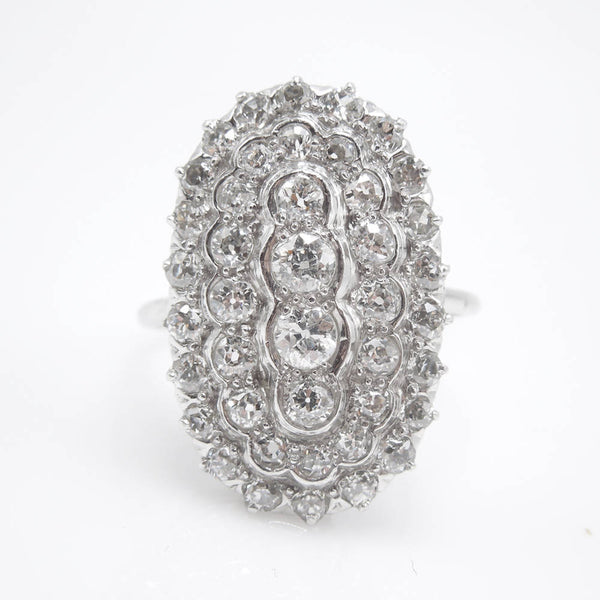 Large Art Deco Diamond Cluster Ring in Platinum