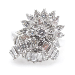 Vintage Baguette, Marquise, Round Brilliant Diamond Ring - White Gold