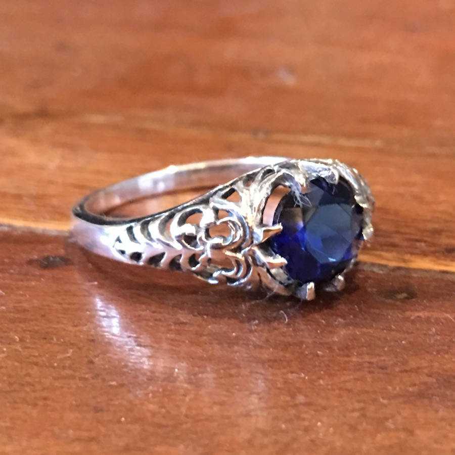 Edwardian Style - Filigree Sterling Silver Ring with Blue Sapphire