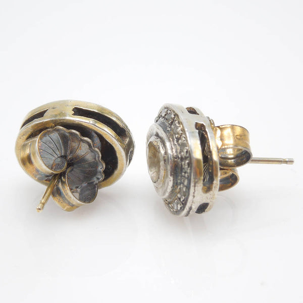 Sterling Silver and Vermeil Macle Diamond Stud Earrings