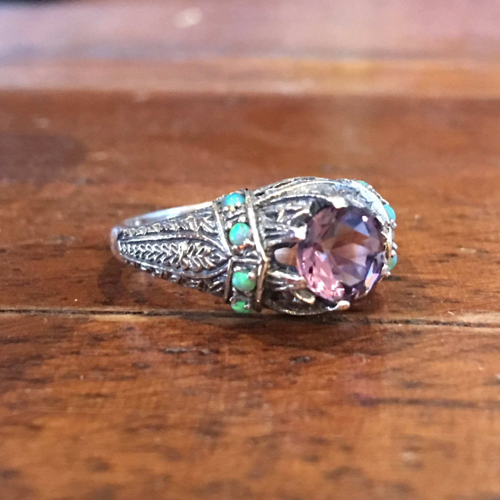 Amethyst and Fire Opal Art Deco Style Ring in Sterling Silver