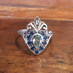 Victorian Style Aquamarine w/ Sapphire Sterling Silver Bypass Ring