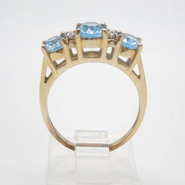 14K Yellow Gold Blue Topaz Three Stone Ring with Diamonds