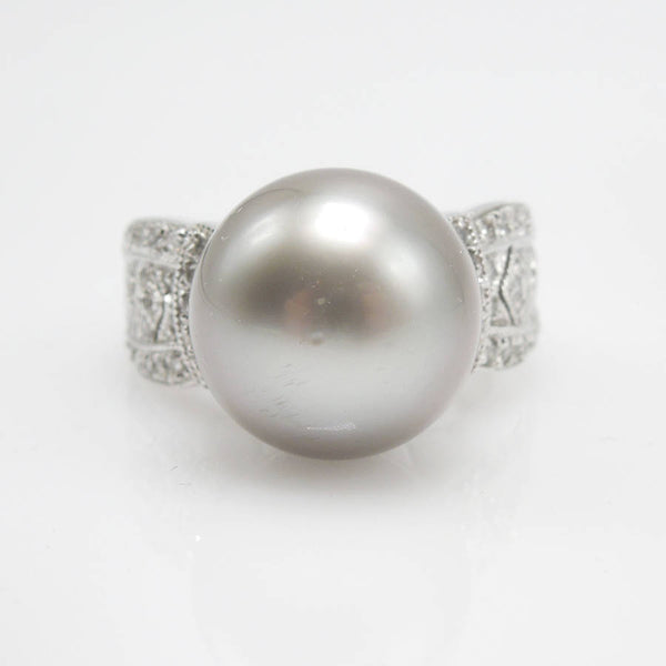 Large South Sea Pearl Ring With Diamonds in White Gold