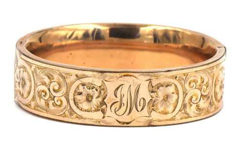 Wide Victorian Era Gold Fill Bangle Bracelet - Engraved