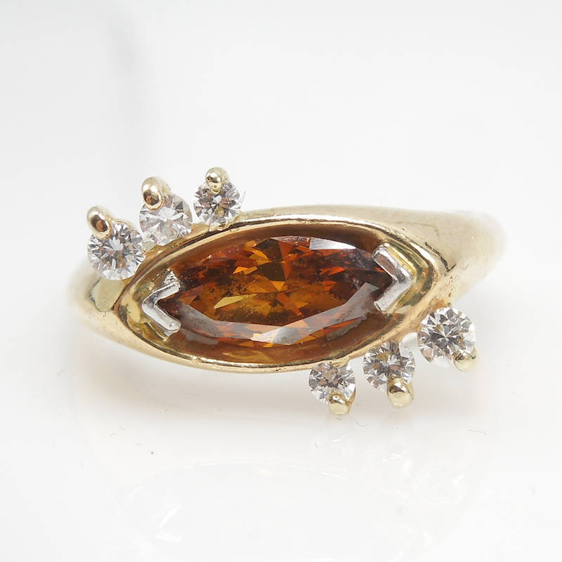 Mid-Century  Fancy Color Marquis Diamond  Ring