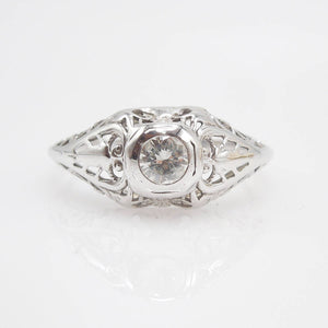 14K White Gold Art Deco Filigree Diamond Engagement Ring
