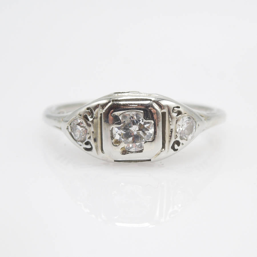 14K White Gold Art Deco Diamond Engagement Ring