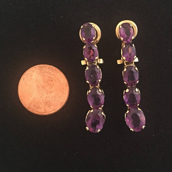 Vintage Oval Amethyst Clip-on Drop Earrings in 18K Yellow Gold