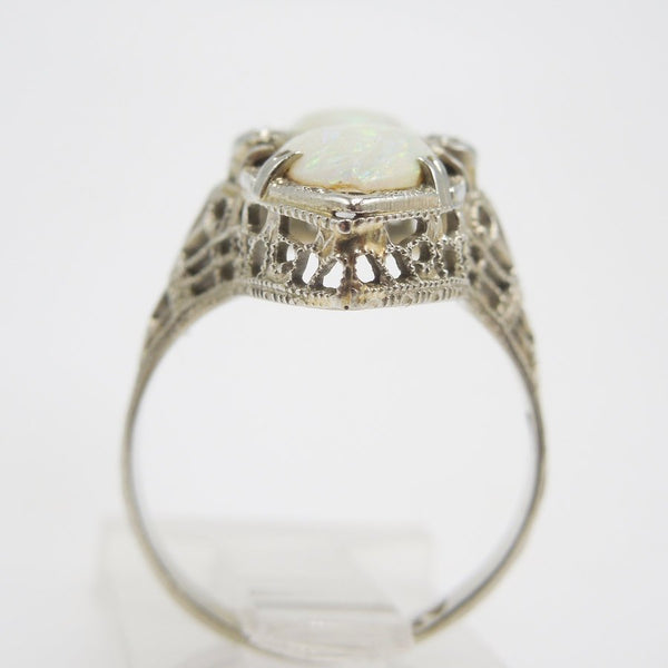 14K White Gold Ring with Pear Shaped Opals and Diamond Accents
