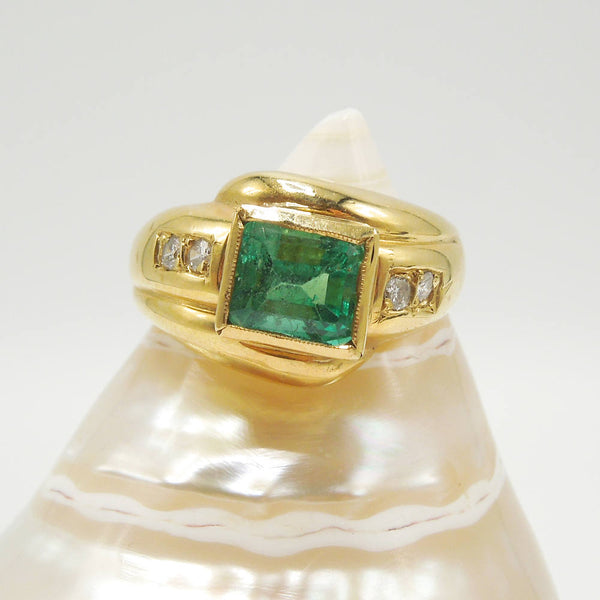 18K Yellow Gold Emerald Cut Emerald & Diamond Ring