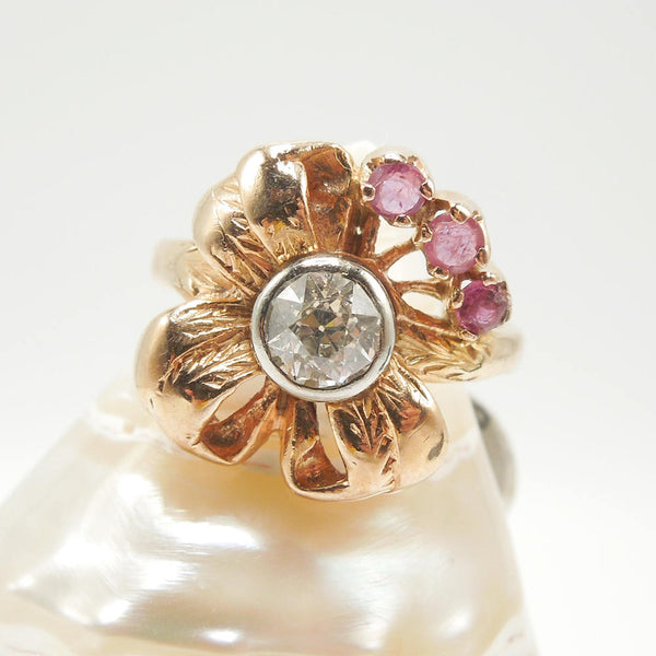 14K Rose Gold Old Mine Cut Diamond and Ruby Flower Ring