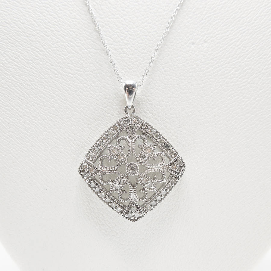 White Gold and Diamond Art Deco Style Filigree Necklace