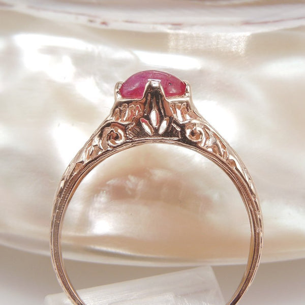 Petite Engraved Ring in 14K Rose Gold with 0.70ct Cabochon Ruby