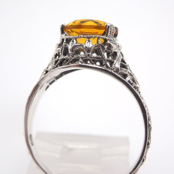 Art Deco Style Citrine Sterling Silver Filigree Mounting