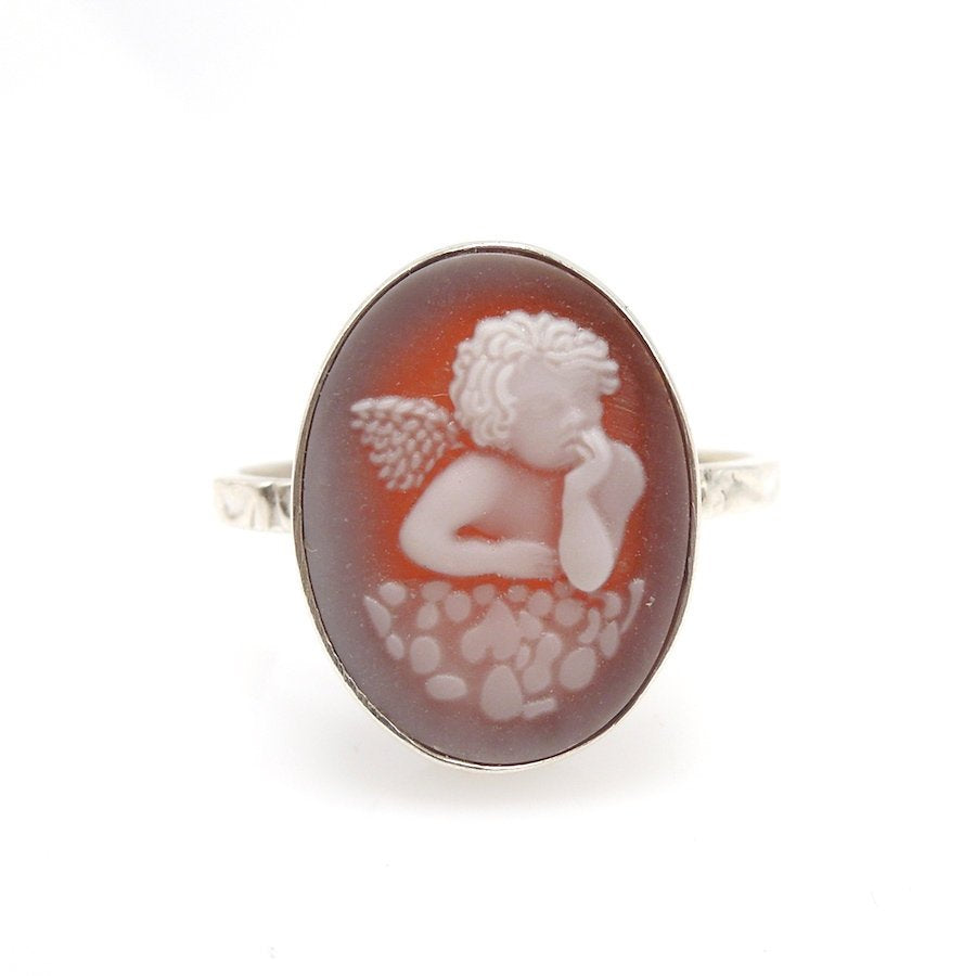 Italian Style Bezel Set Red Cameo in Sterling Silver Ring