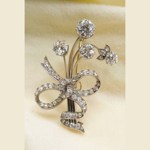 4 carat Diamond Flower Bundle Brooch in Gold and Platinum
