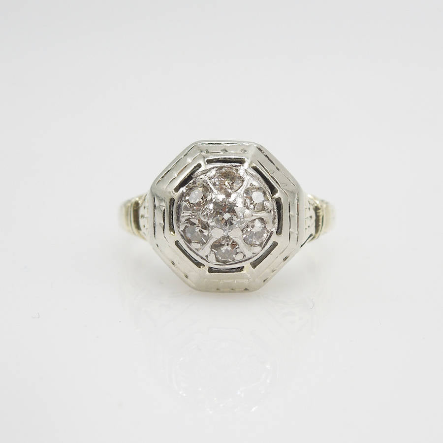 Antique Bicolor (Yellow Gold & White Gold) Diamond Cluster Ring