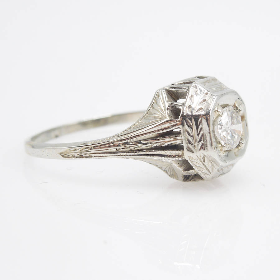 0.28ct Art Deco Diamond Engagement Ring in 14K White Gold